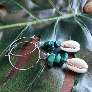 Green Malachite Chips With Sea Shell Earrings